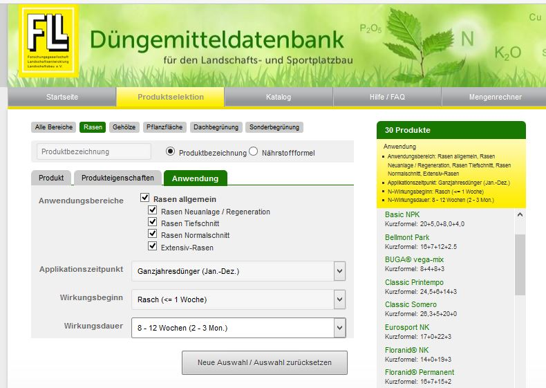 intergreen report 2017 01 duengemitteldatenbank 03 selektion rasen